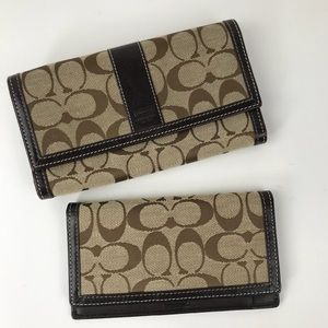 Coach Signature Wallet and Checkbook Bundle